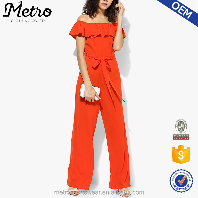 Custom Women Polyester Off Shoulder Orange Ruffle Belt Jumpsuit