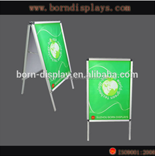 Promotion Advertising Back Wooden Board A1 A0 Size Sliver Pavement Swing Sign Alluminium Composite with Double Sided Display