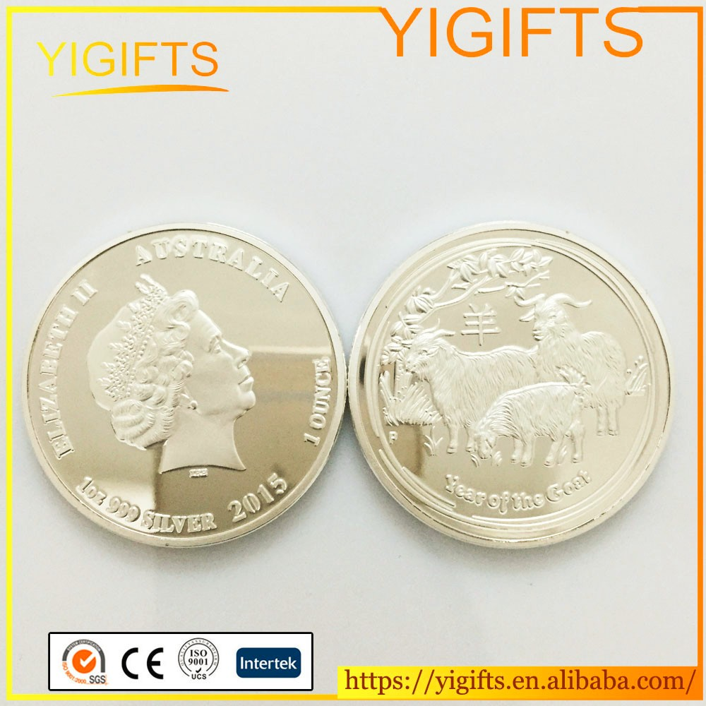 2015 Chinese Zodiac Animal Silver Plated coins Australia Elizabeth ll Year of goat Coin <strong>Metal</strong> For Souvenir