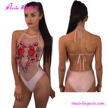 Two Colors Pink Flower Designers Embroidery One Piece Swimwear