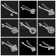 Head Charm Hair Jewelry Wholesale Wedding Hair Accessories New 2015 CZ Key Shape Hair Barrette For Women