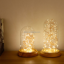 Aicco 30090 Vintage Indoor Decorative Christmas LED Lighting LED,Glass Wood Hotel Table Lamp