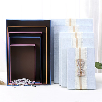 Lovely birthday party present paper gift box packaging with ribbon