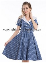 walson instyles wholesale Womens Polka Dot Knot Front V Neck Top Pleated Skirt Pin Up Swing Dress