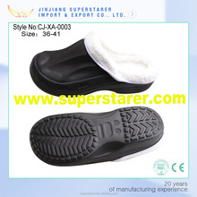 Warm Black Man EVA Clogs, Fur Lining Anti-Slip Fashion Clog Stock Slipper