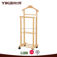 BSCI Yikai factory make cheap solid heavy duty wood valet stand for clothes