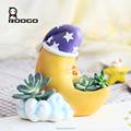 Roogo resin good night my love moon shape flower pots for desktop ornament