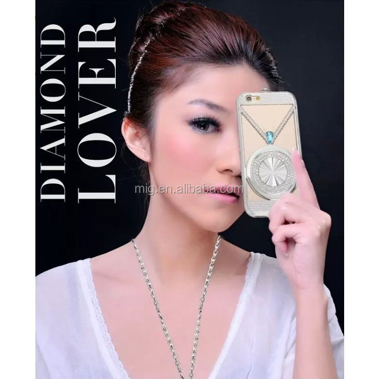 Mobile phone cover aluminum case for iphone5/ 6s/ 6s plus 2 in 1 diamond AL Metal case
