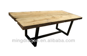 Chinese antique dinning table recycle wood iron leg