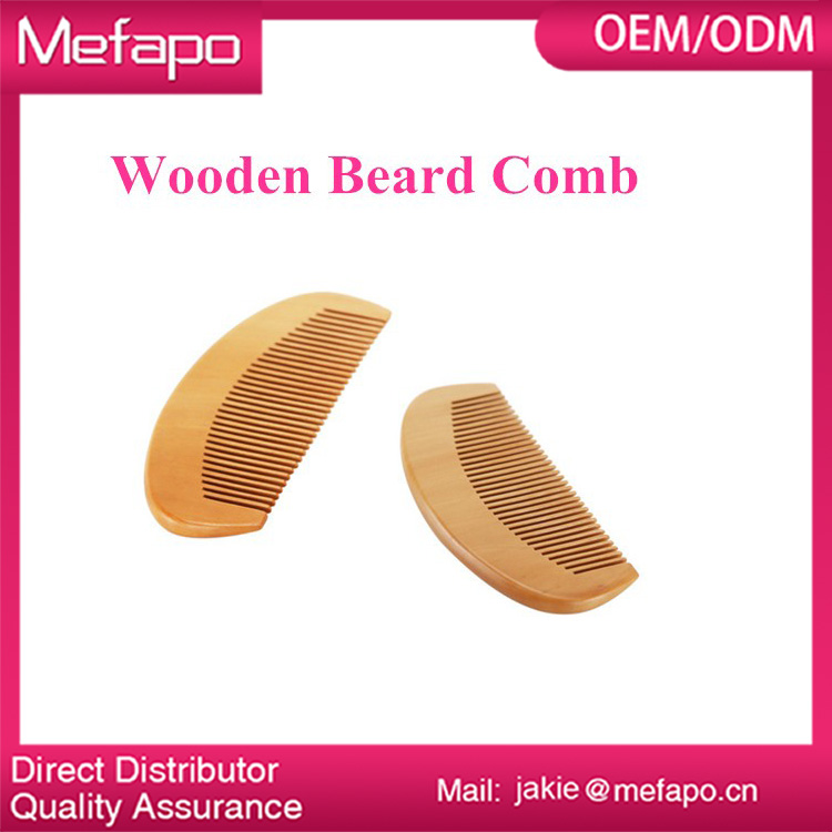 Custom logo wood mens beard comb / sandalwood beard comb