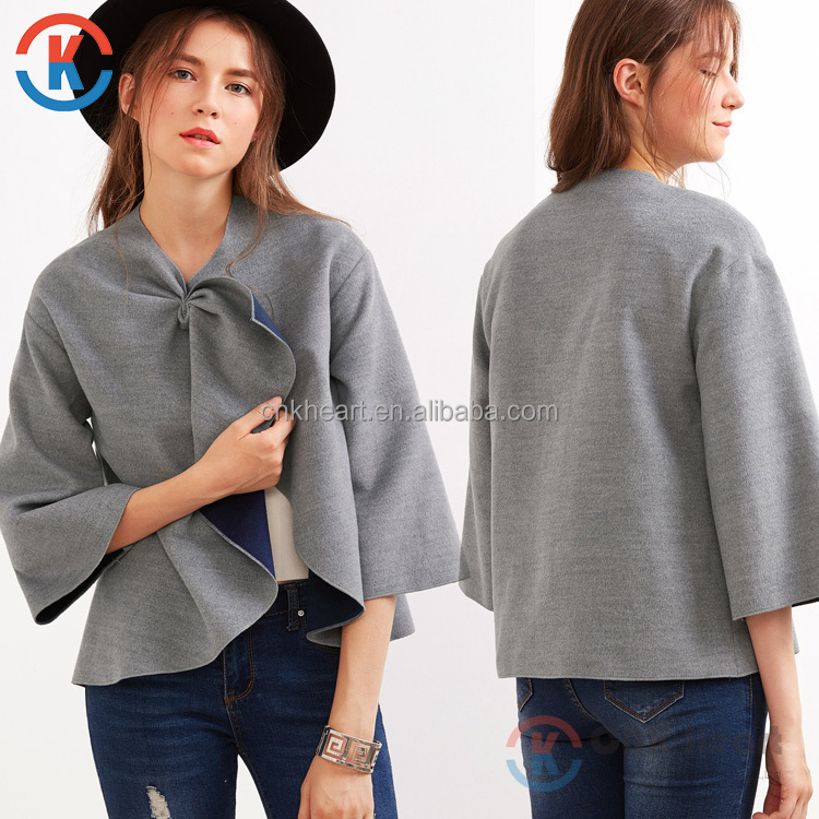 Hot sale fashion grey knotted collar kimono sleeve ladies wholesale coat women