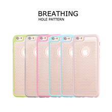 Breathing Hole Pattern Tpu+pc Two Color Cell Phone Case for iphone6 6s plus