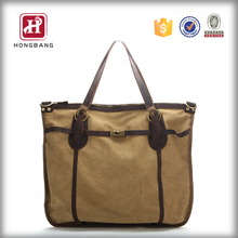 Fashion Women Travel Cotton Canvas Bag Tote Leather Handbag