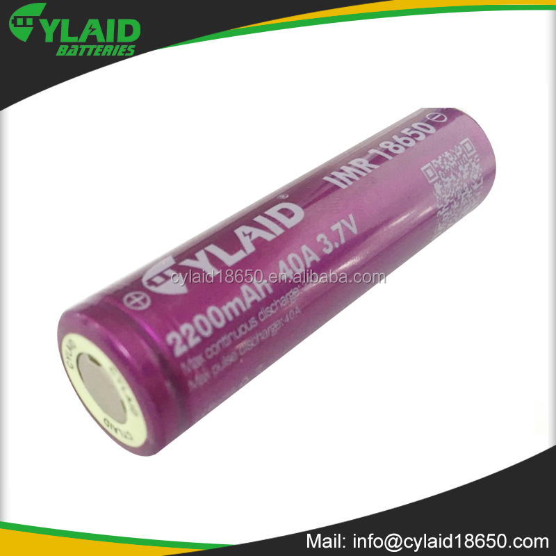 Cylaid 3.7V 2200mah IMR 18650 battery high quality li ion rechargeable 18650battery
