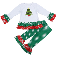 2015 tree applique girls boutique clothing top and pant giggle moon remake outfits for Christmas children clothes