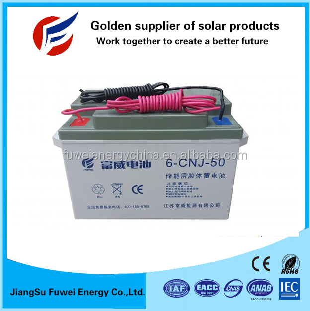 12V 50Ah for 12V DC deep cycle solar storage battery