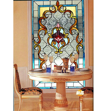 Large stained glass panel for window and door