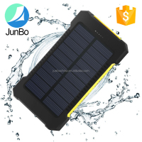 2016 newest 10000mAh waterproof solar power bank charger for laptop LED flashlight