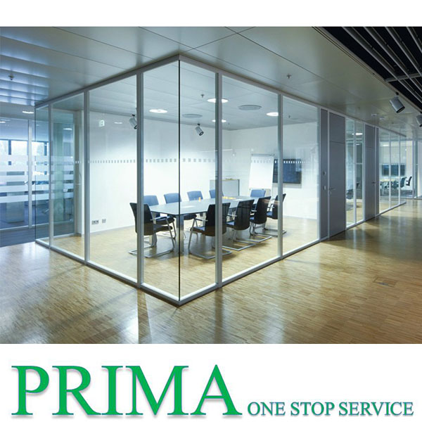 China factory tempered silk printed sliding room partitions glass partition wall