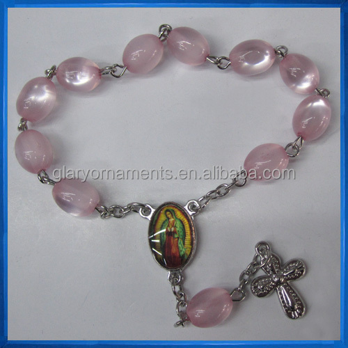 Pink Glass Decade Rosary Chaplet,Religious Bracelet