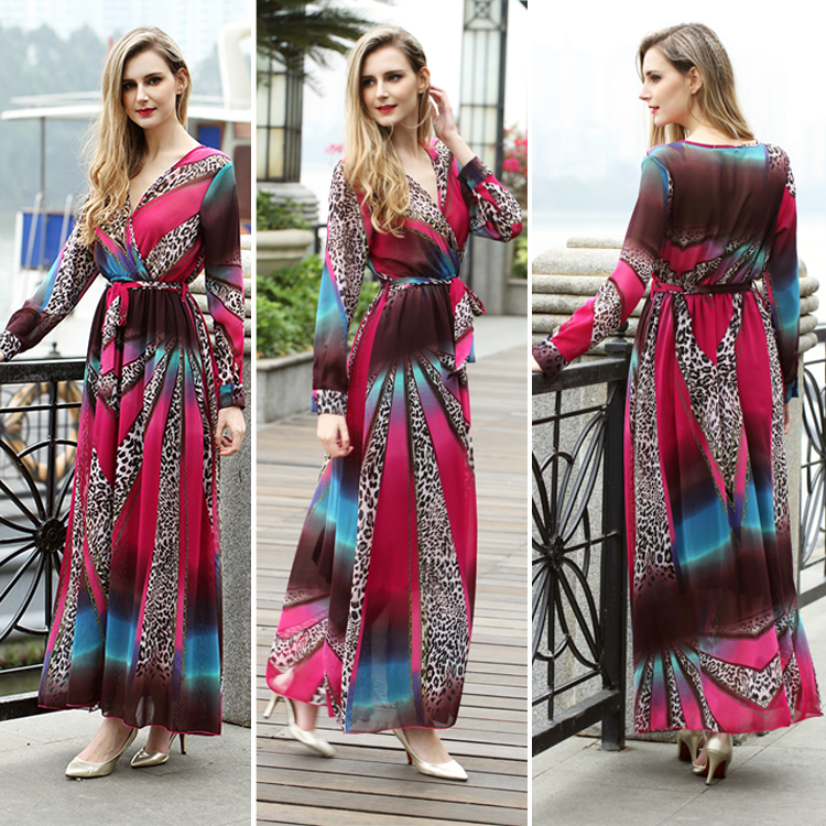 New Design Chinese Style Satin Scoop Neckline Knee Length Printed Dresses Women ,red rose Plus Size dresses for best price