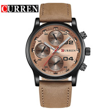 Day date month watch movement genuine leather western quartz wrist watches