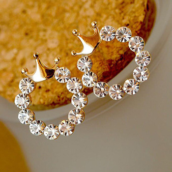 Wholesale fashionable hoop diamond earring smooth round crown stud earrings