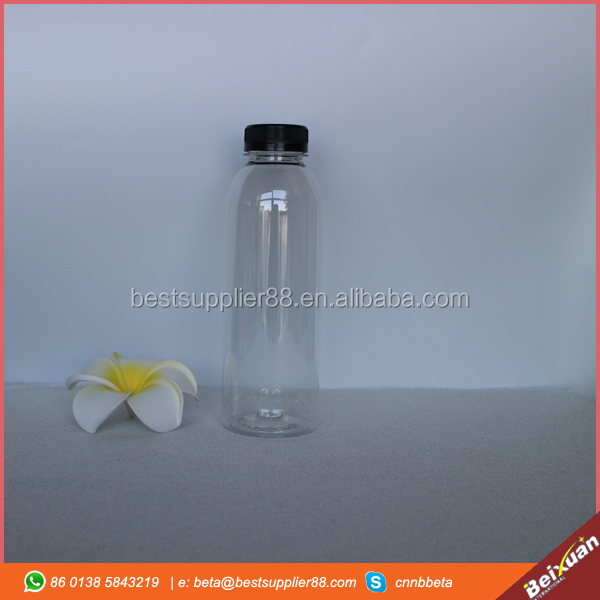 16oz clear round reusing plastic water bottles bpa free plastic juice bottles wholesale