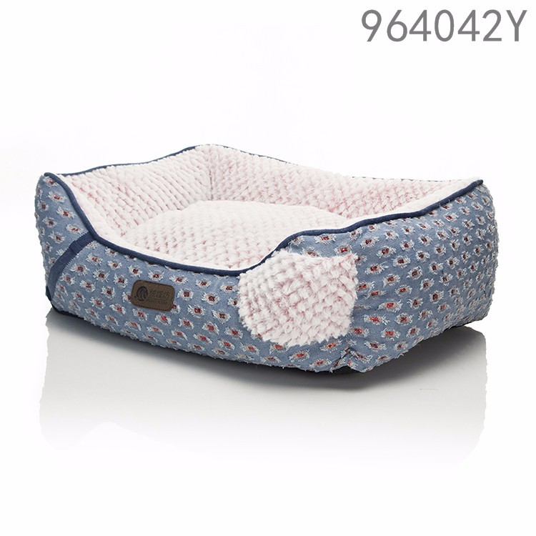 china lateste new designs pet products dog kennel luxury jeans long plush animal fur rectangle pet dog beds for online shoping