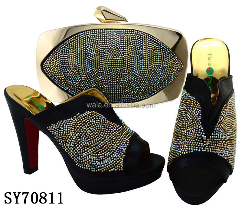 SY70811 high <strong>heel</strong> and matching bag with stones wholesale ladies party shoes