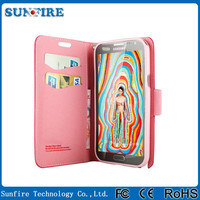 For Note2 New Arrival Leather Wallet Flip Case for Samsung Galaxy note2 n7000 Case with Stand Contrast Color