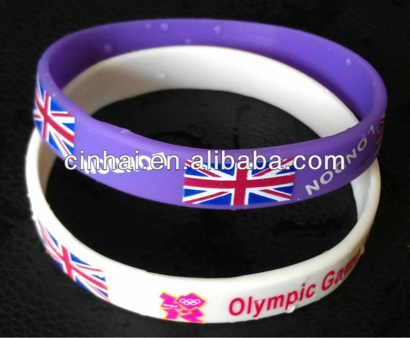 all kinds of customized london 2012 olympic games silicone wristbands in cheap price
