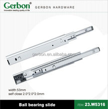 53mm full extension soft closing Heavy duty ball bearing drawer slide
