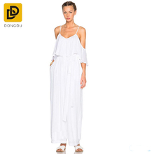 2017 White organic cotton one piece jumpsuit from Dongguan clothes supplier