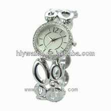 Promotional new products superior elegance fashion watches lady alloy watch silver fine metal diamante wristwatch novelty gifts