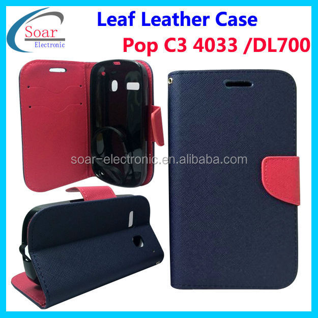 Wallet leather case for alcatel c3 4033 ,For Digicel DL700 case