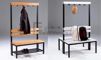 High End Wooden Retail Clothing Rack Display Rack Furniture,Dressing Bench With Clothes Hanger
