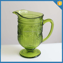 Wholesale hand pressed color spray water glass pitcher