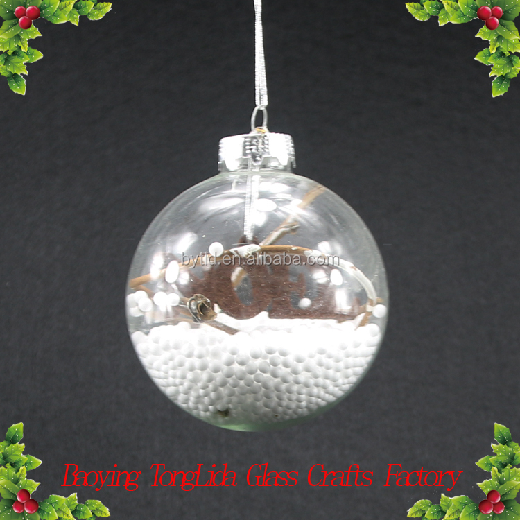 Clear glass snow ball for christmas decoration