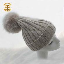 New Design Minion Crocheted Fox Fur Pom Poms Hat