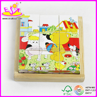 2015 wooden puzzles for child, wooden puzzle 6 sides' pictures for children and kids puzzle factory W14F012