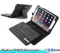 New for iPad Mini4 removable wireless bluetooth keyboard with folio litchi pu leather case black
