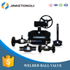 China Supplier All Welded Long Stem Ball Valve with Worm Wheel