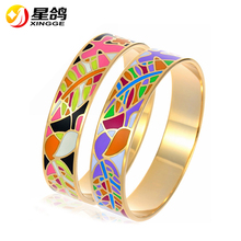 Fashion High Quality 316L Stainless Steel bangles Ethnic Colorful Enamel cloisonne bangles Women Gifts Bracelets Wholesale