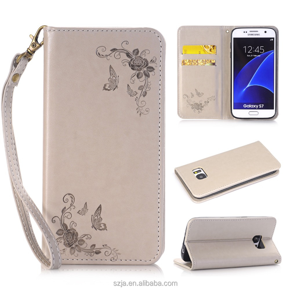Embossed Floral Pattern Horizontal Flip Leather Case for Samsung Galaxy J7 Prime, Back Cover for Samsung J7 Prime with Lanyard