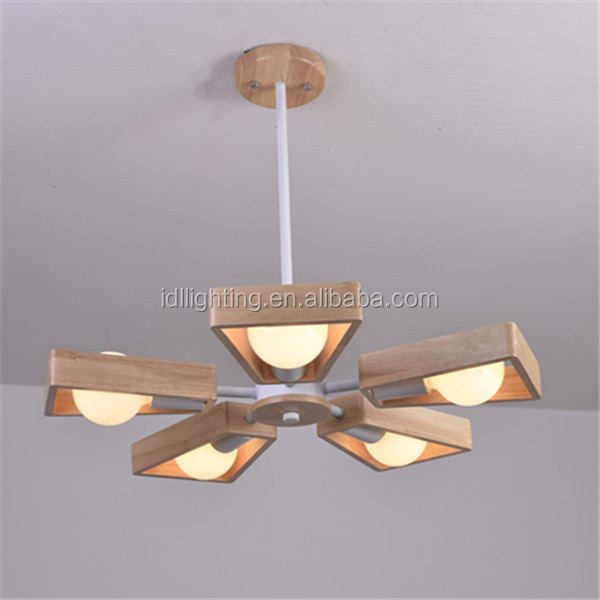 new arrival white LED wooden fan chanderlier 5 lights pendant lamp