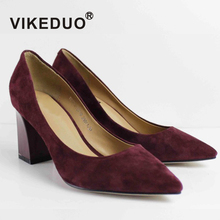 new design handmade leather big size sheepskin suede red women block heels shoes
