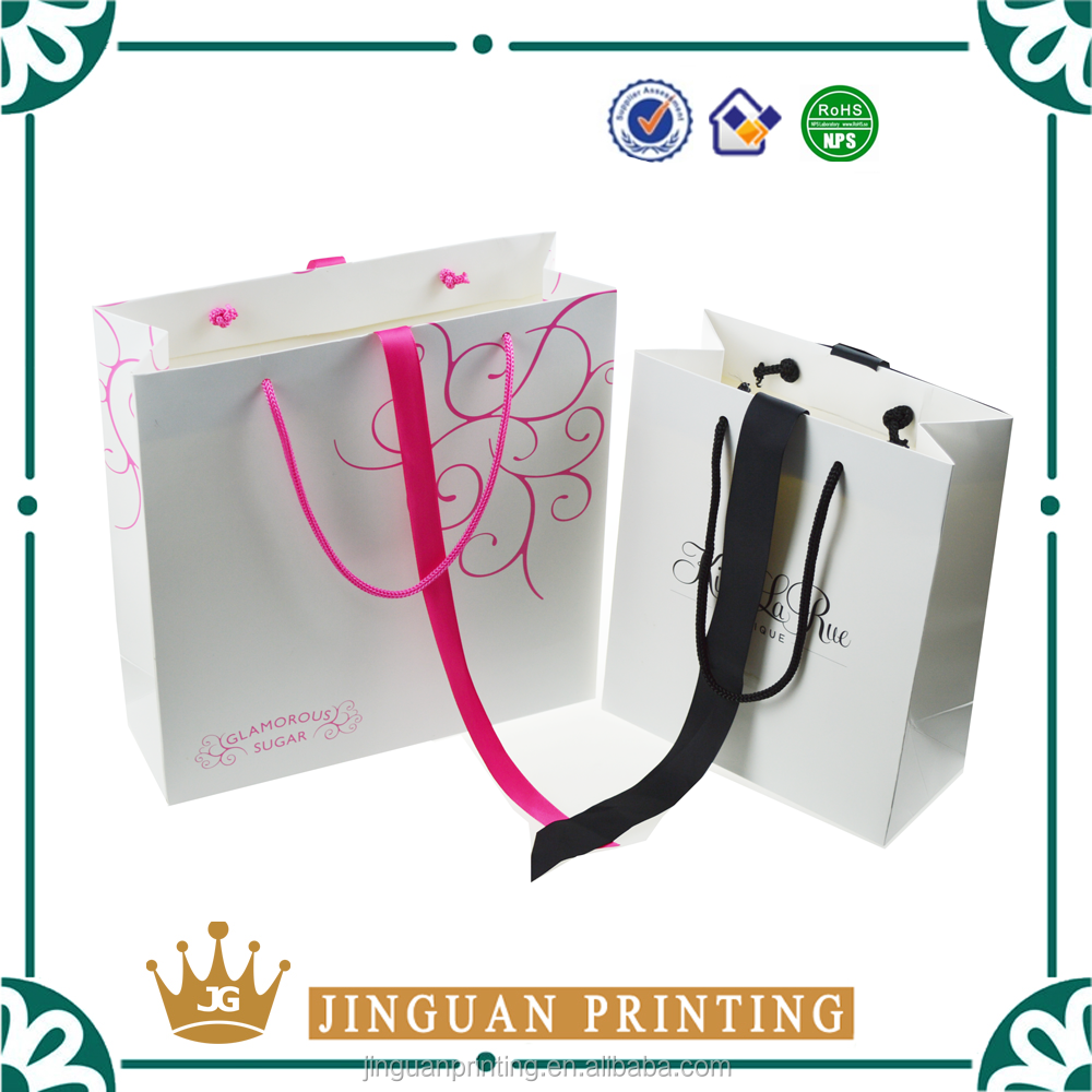 Customized print logo luxury paper shopping gift jewelry bag