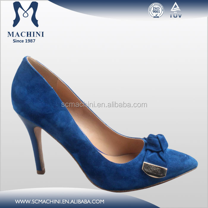 Soft sheep suede elegant fashion ladies stiletto heels Royal Blue high hell