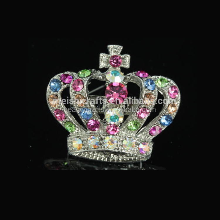 Multi colors crystal Rhinestone silver plate Brooch pin Royal Crown